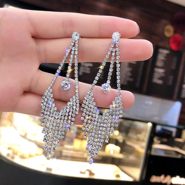 Fashion Studded Drop Long Earrings