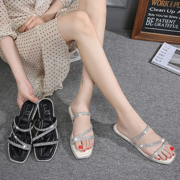 Rhinestone Open Toe Beach Flat Sandals - Shop Shiningbabe - Womens Fashion Online Shopping Offering Huge Discounts on Shoes - Heels, Sandals, Boots, Slippers; Clothing - Tops, Dresses, Jumpsuits, and More.
