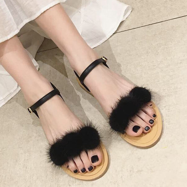 Fashion plush ball tie flat sandals - Shop Shiningbabe - Womens Fashion Online Shopping Offering Huge Discounts on Shoes - Heels, Sandals, Boots, Slippers; Clothing - Tops, Dresses, Jumpsuits, and More.