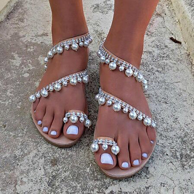 Fashion Pearl Toe Ring Flat Sandals - Shop Shiningbabe - Womens Fashion Online Shopping Offering Huge Discounts on Shoes - Heels, Sandals, Boots, Slippers; Clothing - Tops, Dresses, Jumpsuits, and More.