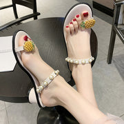 Pineapple Pattern Toe Ring Pearl Wedge Sandals - Shop Shiningbabe - Womens Fashion Online Shopping Offering Huge Discounts on Shoes - Heels, Sandals, Boots, Slippers; Clothing - Tops, Dresses, Jumpsuits, and More.
