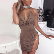 Bright Diamond Halter Sling Deep V Open Back Dress - Shop Shiningbabe - Womens Fashion Online Shopping Offering Huge Discounts on Shoes - Heels, Sandals, Boots, Slippers; Clothing - Tops, Dresses, Jumpsuits, and More.