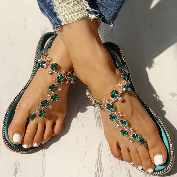 Studded Detail Toe Post Flat Sandals - Shop Shiningbabe - Womens Fashion Online Shopping Offering Huge Discounts on Shoes - Heels, Sandals, Boots, Slippers; Clothing - Tops, Dresses, Jumpsuits, and More.