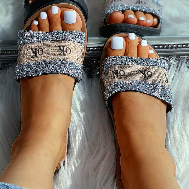 OK Pattern Sequins Flat Sandals - Shop Shiningbabe - Womens Fashion Online Shopping Offering Huge Discounts on Shoes - Heels, Sandals, Boots, Slippers; Clothing - Tops, Dresses, Jumpsuits, and More.