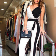 Fashion Colorblock Sexy V-neck Sling Jumpsuit - Shop Shiningbabe - Womens Fashion Online Shopping Offering Huge Discounts on Shoes - Heels, Sandals, Boots, Slippers; Clothing - Tops, Dresses, Jumpsuits, and More.