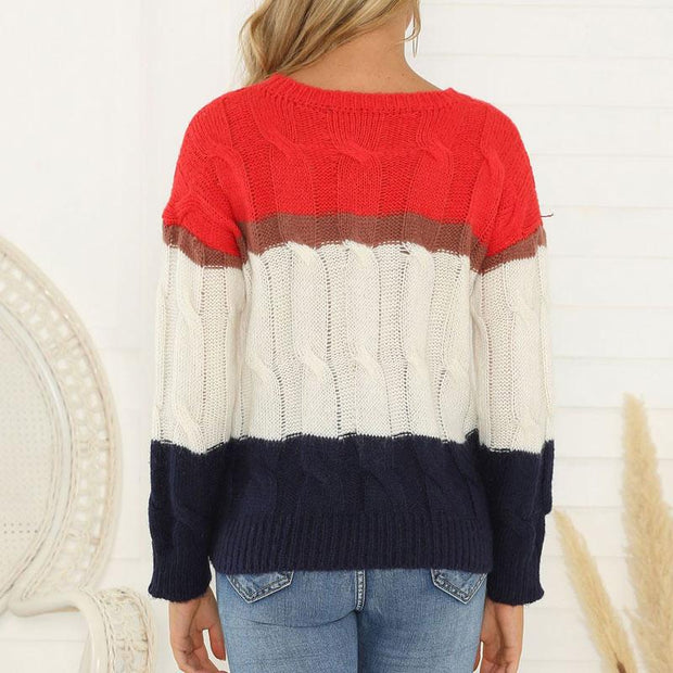 Striped Print Patchwork Round Neck Long Sleeve Sweater