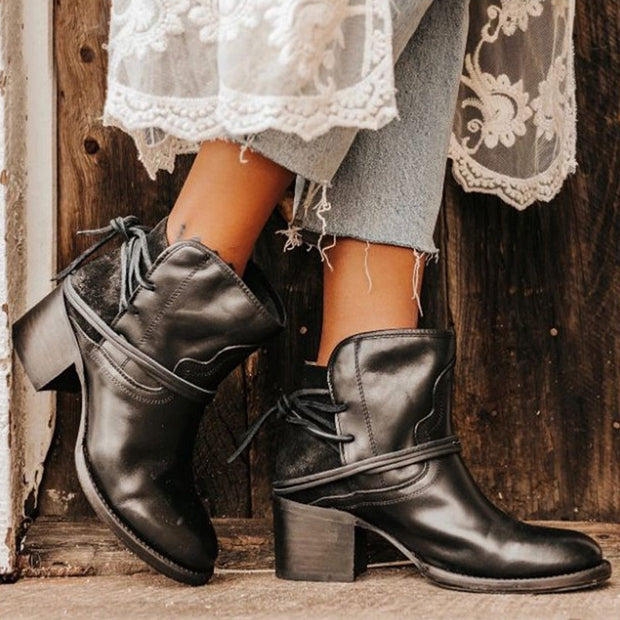 Vintage Strappy Chunky Heel Ankle Boots - Shop Shiningbabe - Womens Fashion Online Shopping Offering Huge Discounts on Shoes - Heels, Sandals, Boots, Slippers; Clothing - Tops, Dresses, Jumpsuits, and More.