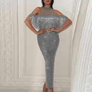 Sequins Tassel Cold Shoulder Bodycon Maxi Party Evening Dress