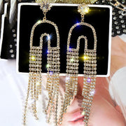 Vintage Studded Drop Long Tassel Earrings