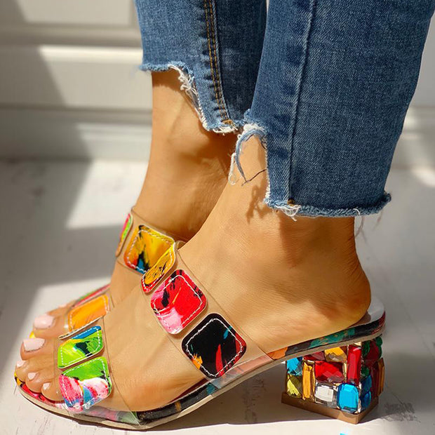 Colorful Geo Applique Chunky Heeled Sandals - Shop Shiningbabe - Womens Fashion Online Shopping Offering Huge Discounts on Shoes - Heels, Sandals, Boots, Slippers; Clothing - Tops, Dresses, Jumpsuits, and More.
