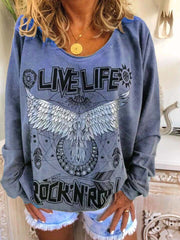 Letter Print Round Neck Long Sleeve Sweater
