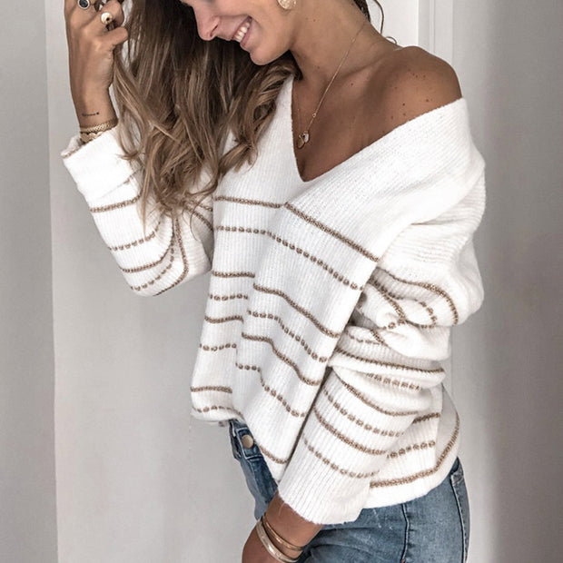 Stylish Casual Striped V-neck Sweater - Shop Shiningbabe - Womens Fashion Online Shopping Offering Huge Discounts on Shoes - Heels, Sandals, Boots, Slippers; Clothing - Tops, Dresses, Jumpsuits, and More.