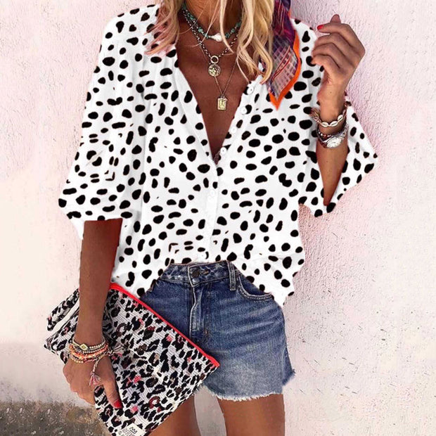 Leopard Long Sleeve Casual Blouse - Shop Shiningbabe - Womens Fashion Online Shopping Offering Huge Discounts on Shoes - Heels, Sandals, Boots, Slippers; Clothing - Tops, Dresses, Jumpsuits, and More.