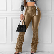 High Waist Solid Pocket Design Stacked Pants