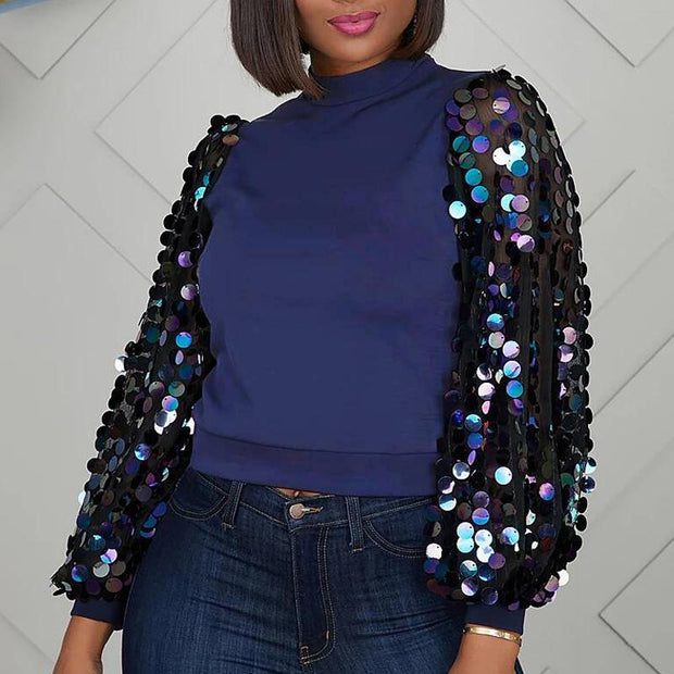 Sequins Sheer Mesh Patchwork Long Sleeve Top