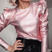 Fashion Shiny Pleated Sleeve Top - Shop Shiningbabe - Womens Fashion Online Shopping Offering Huge Discounts on Shoes - Heels, Sandals, Boots, Slippers; Clothing - Tops, Dresses, Jumpsuits, and More.