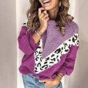 Colorblock Leopard Sweater Long Sleeve Top - Shop Shiningbabe - Womens Fashion Online Shopping Offering Huge Discounts on Shoes - Heels, Sandals, Boots, Slippers; Clothing - Tops, Dresses, Jumpsuits, and More.