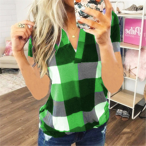 Plaid Print V Neck Short Sleeve T-shirt