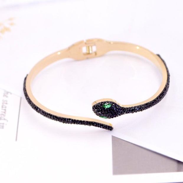 Snake Design Rhinestone Studded Decoration Bracelet