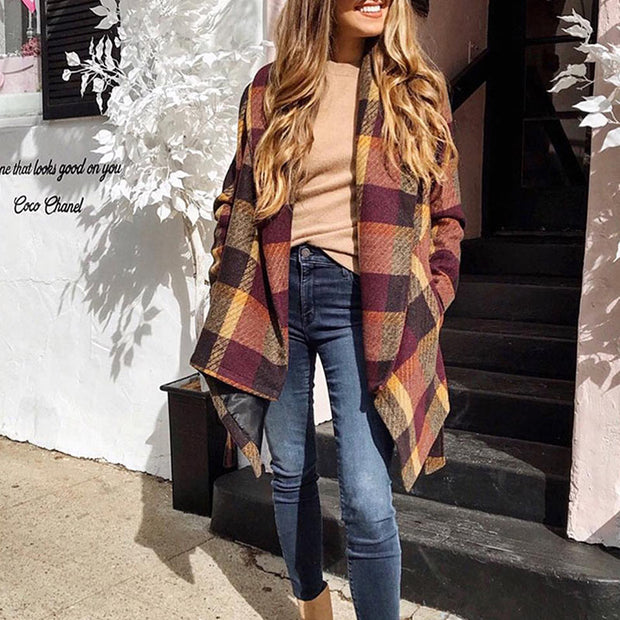 Fashion Loose Plaid Coat - Shop Shiningbabe - Womens Fashion Online Shopping Offering Huge Discounts on Shoes - Heels, Sandals, Boots, Slippers; Clothing - Tops, Dresses, Jumpsuits, and More.
