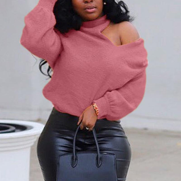 Casual Solid Cold Shoulder Long Sleeve Sweater
