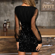 Sheer Mesh Sequin Patchwork Bodycon Dress - Shop Shiningbabe - Womens Fashion Online Shopping Offering Huge Discounts on Shoes - Heels, Sandals, Boots, Slippers; Clothing - Tops, Dresses, Jumpsuits, and More.