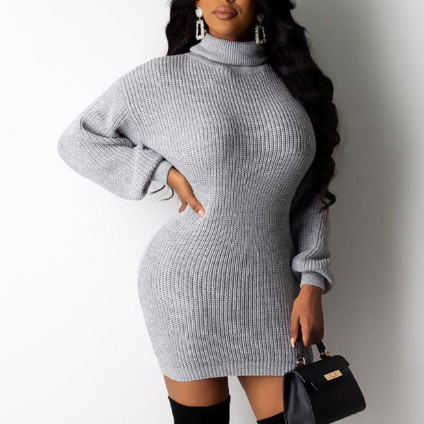 Solid Turtleneck Long Sleeve Knitted Sweater Dress