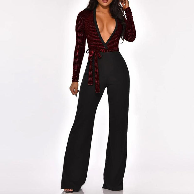 Sequins Deep V-Neck Tied Jumpsuit