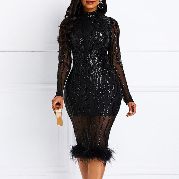Sequins Long Sleeve Sheer Mesh Feather Patchwork Party Evening Dress