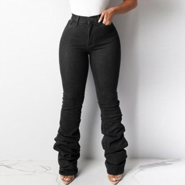 Solid Button Detailed High Waist Stacket Jeans