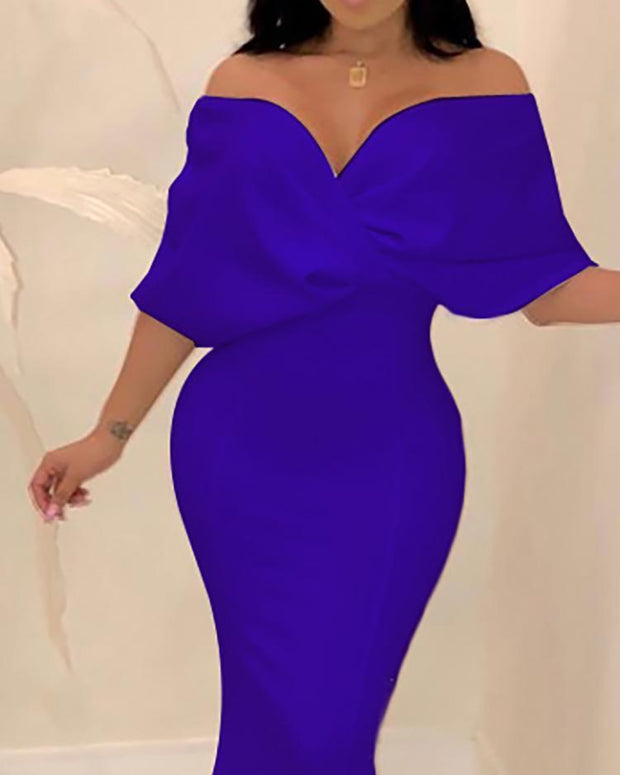 Cross Over Neck Fishtail Evening Dress - Shop Shiningbabe - Womens Fashion Online Shopping Offering Huge Discounts on Shoes - Heels, Sandals, Boots, Slippers; Clothing - Tops, Dresses, Jumpsuits, and More.