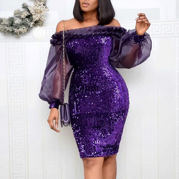 Sequins Sheer Mesh Patchwork Ruffles Long Sleeve Dress