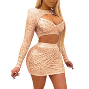 Sequins Hollow Out Long Sleeve Two Piece Set