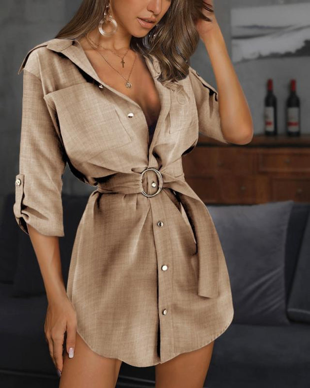 Solid Belted Casual Shirt Dress