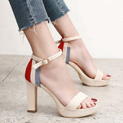 Contrast Color Suede Platform With Thick Sandals - Shop Shiningbabe - Womens Fashion Online Shopping Offering Huge Discounts on Shoes - Heels, Sandals, Boots, Slippers; Clothing - Tops, Dresses, Jumpsuits, and More.