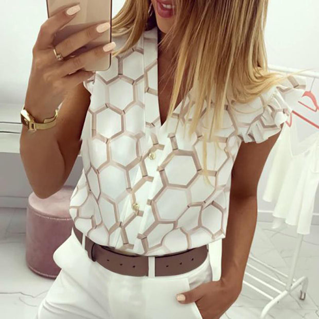 V-Neck Print Ruffles Casual Shirt - Shop Shiningbabe - Womens Fashion Online Shopping Offering Huge Discounts on Shoes - Heels, Sandals, Boots, Slippers; Clothing - Tops, Dresses, Jumpsuits, and More.