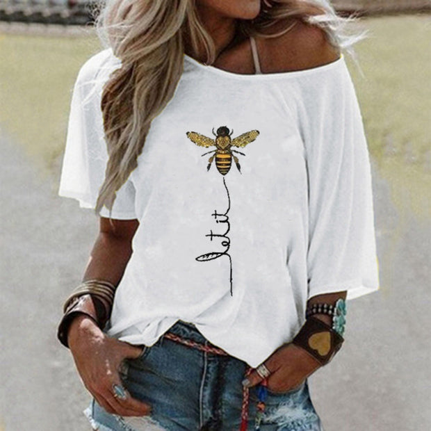 Solid Bee Print One Shoulder T-shirt