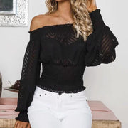 Off Shoulder Bishop Sleeve Shirring Waist Blouse - Shop Shiningbabe - Womens Fashion Online Shopping Offering Huge Discounts on Shoes - Heels, Sandals, Boots, Slippers; Clothing - Tops, Dresses, Jumpsuits, and More.