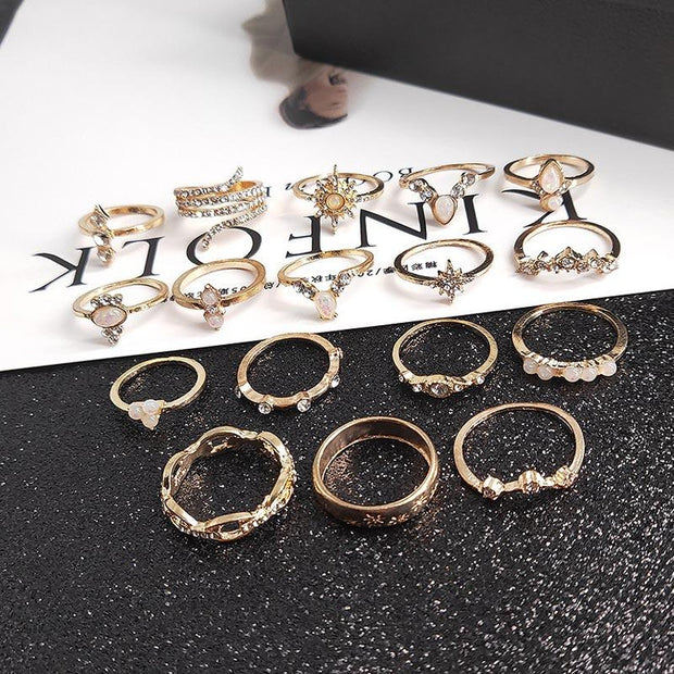 17PCS Beaded Studded Rings Set