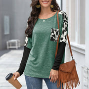 Casual Leopard Print Patchwork Pocket Blouse