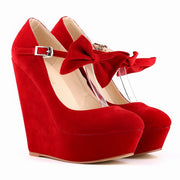 Velvet wedge heel buckle clasp shoes - Shop Shiningbabe - Womens Fashion Online Shopping Offering Huge Discounts on Shoes - Heels, Sandals, Boots, Slippers; Clothing - Tops, Dresses, Jumpsuits, and More.
