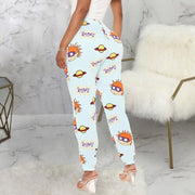 Cartoon Letter Print Casual Pants