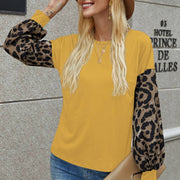 Casual Leopard Print Long Sleeve Blouse
