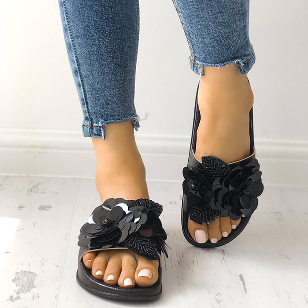 Sequins Embellished Non-Slip Flat Sandals - Shop Shiningbabe - Womens Fashion Online Shopping Offering Huge Discounts on Shoes - Heels, Sandals, Boots, Slippers; Clothing - Tops, Dresses, Jumpsuits, and More.