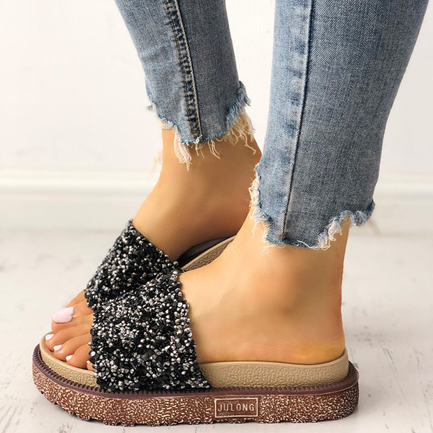 Shiny Sequins Embellished Open Toe Sandals - Shop Shiningbabe - Womens Fashion Online Shopping Offering Huge Discounts on Shoes - Heels, Sandals, Boots, Slippers; Clothing - Tops, Dresses, Jumpsuits, and More.