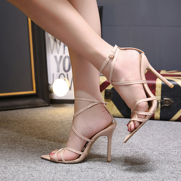 Pointed Mouth Hollow Cross Strap High Heel Sandals - Shop Shiningbabe - Womens Fashion Online Shopping Offering Huge Discounts on Shoes - Heels, Sandals, Boots, Slippers; Clothing - Tops, Dresses, Jumpsuits, and More.