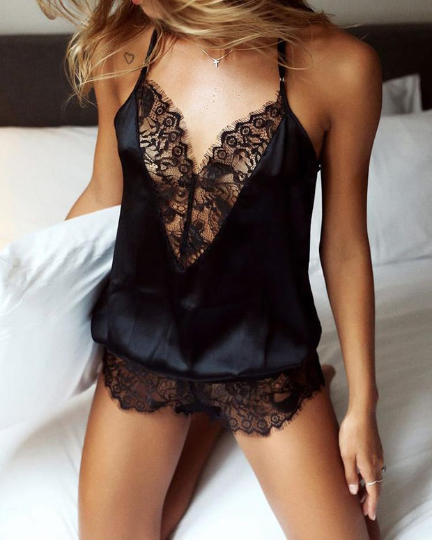 Spaghetti Strap Lace Eyelash Teddy Lingerie Sleepwear - Shop Shiningbabe - Womens Fashion Online Shopping Offering Huge Discounts on Shoes - Heels, Sandals, Boots, Slippers; Clothing - Tops, Dresses, Jumpsuits, and More.