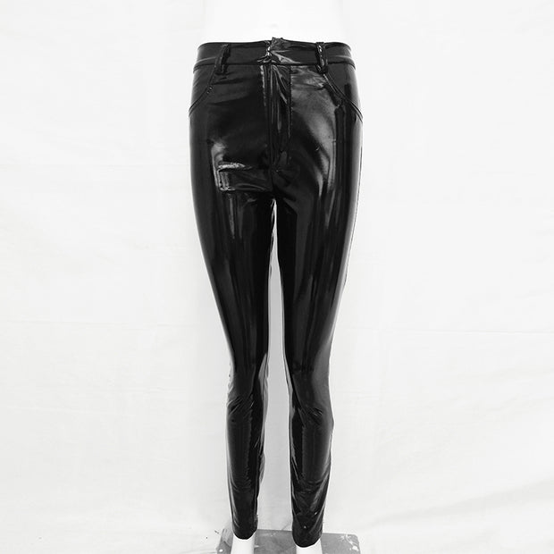 Slim High Waist Bright Leather Pants - Shop Shiningbabe - Womens Fashion Online Shopping Offering Huge Discounts on Shoes - Heels, Sandals, Boots, Slippers; Clothing - Tops, Dresses, Jumpsuits, and More.