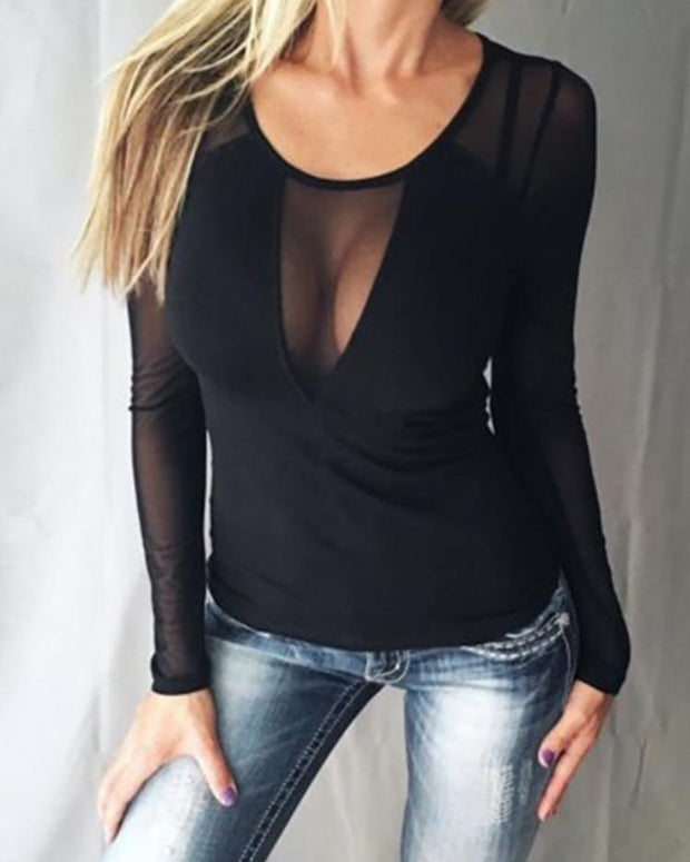 Sheer Mesh Splicing Slinky Blouse - Shop Shiningbabe - Womens Fashion Online Shopping Offering Huge Discounts on Shoes - Heels, Sandals, Boots, Slippers; Clothing - Tops, Dresses, Jumpsuits, and More.