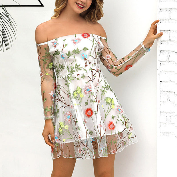 Printed Lace Embroidered Dress - Shop Shiningbabe - Womens Fashion Online Shopping Offering Huge Discounts on Shoes - Heels, Sandals, Boots, Slippers; Clothing - Tops, Dresses, Jumpsuits, and More.